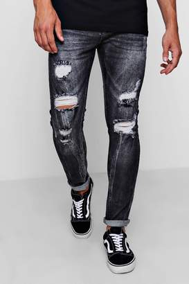 boohoo Skinny Heavily Distressed Acid Wash Jean