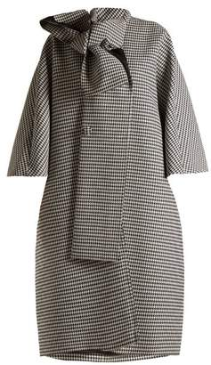 Balenciaga - Houndstooth Tie Neck Coat - Womens - Black White
