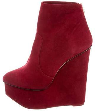 Charlotte Olympia Suede Wedge Boots w/ Tags