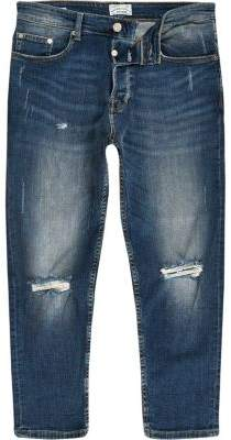 River Island Only and Sons blue rip cropped anti fit jeans
