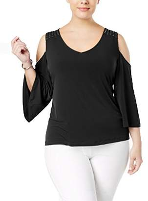 3935caf78a8495 Calvin Klein Women s Plus Size Cold Shoulder Top with Studs