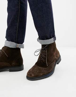 Tommy Hilfiger flexible dressy brogue suede boot in brown