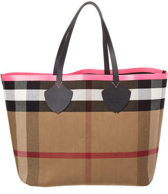 Burberry Giant Reversible Leather & Canvas Tote