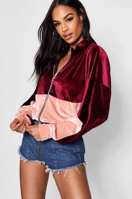 boohoo Velvet Colour Block Bomber Jacket