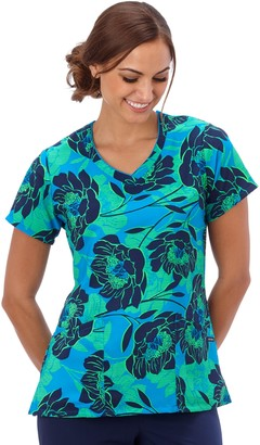 Jockey Plus Size Scrubs Print V-Neck Top