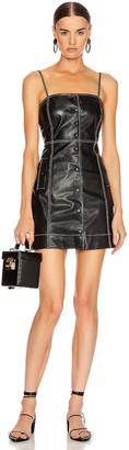Ganni Lamb Leather Dress in Black | FWRD