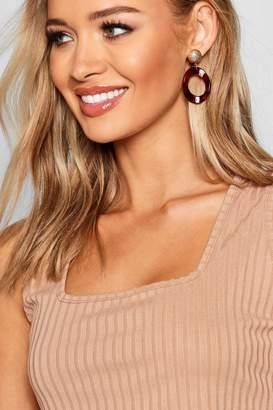 boohoo Gold Contrast Marble Earrings