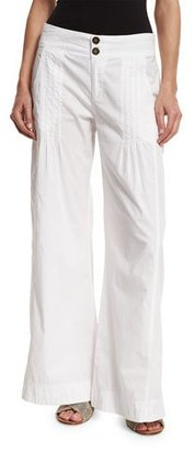 XCVI Pleated Stretch-Poplin Wide-Leg Pants, White $110 thestylecure.com