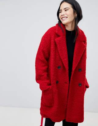 Bershka pocket detail double breasted car coat in red
