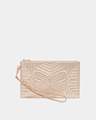 1547e573a1e32 Ted Baker VERDA Quilted bow leather clutch bag