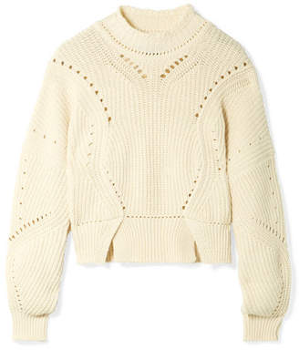Isabel Marant Lane Cropped Ribbed Cotton-blend Sweater - Ecru