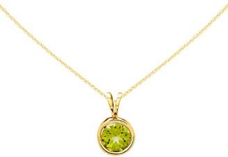 Gemstone Round Bezel Set Pendant w/ Chain, 14K Gold