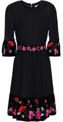 Kate Spade Embroidered Velvet-Trimmed Silk-Georgette Mini Dress