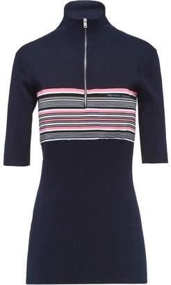 Prada striped half sleeve turtleneck sweater
