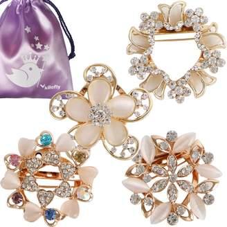 kilofly 4pc Women's Rhinestone Crystal Scarf Brooch Pin Rings Set + Gift Pouch