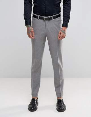 Asos Design Skinny Suit Pants with Piping Detail in Light Grey