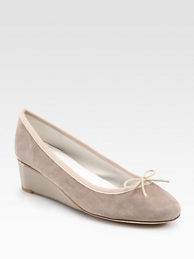 Repetto Norma Suede & Patent Leather Wedge Pumps