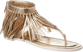Tod's Fringe Metallic Leather Sandal