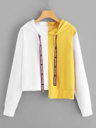 Shein Letter Print Tape Asymmetrical Hem Hoodie Sweatshirt