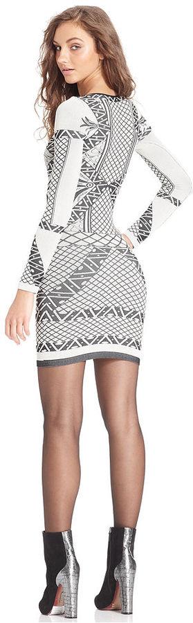 Free People Long-Sleeve Scoop-Neck Printed Mini Dress