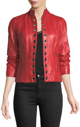Neiman Marcus Leather Collection Grommet-Trim Leather Jacket