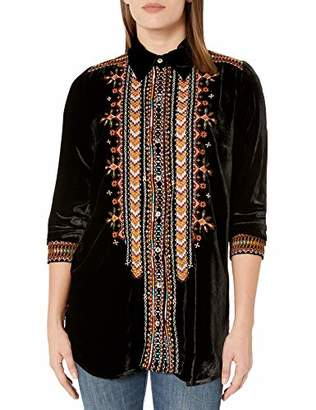 Johnny Was JWLA By Women's Rayon and Silk Velvet Tunic with Embroidery
