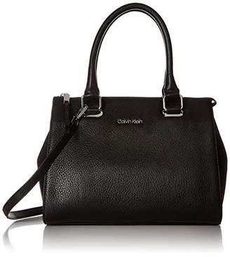 Calvin Klein Halle Pebble Leather Top Zip Key Item Satchel