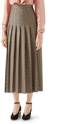Gucci Pleated GG Canvas Skirt