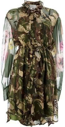Preen by Thornton Bregazzi sheer camouflage shirt dress
