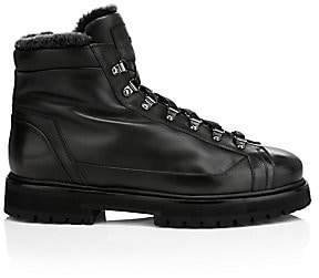 Santoni Men's Mike Shearling-Lined Leather Combat Boots