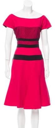 J. Mendel Silk Mesh-Accented Dress