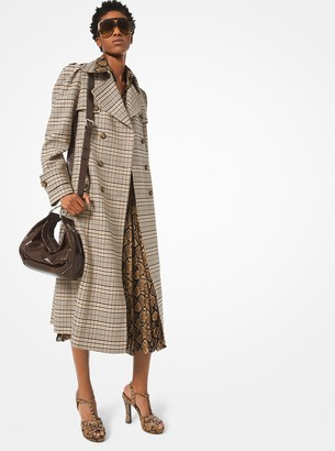 Michael Kors Plaid Stretch-Wool Trench Coat