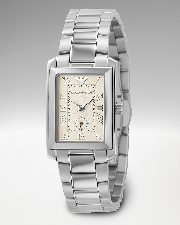 Emporio Armani Women's Rectangular Stainless Steel Bracelet Watch