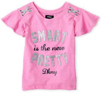 DKNY Girls 4-6x) Glitter Graphic Slub Tee