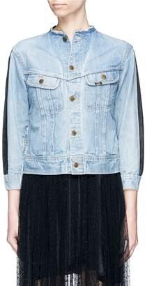FURUGI-NI-LACE Frayed collar graphic print patchwork denim jacket