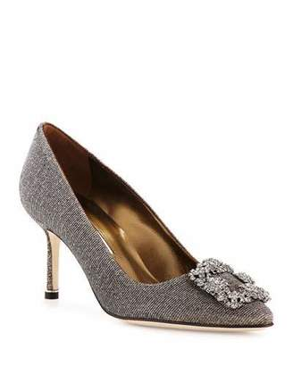 Manolo Blahnik Hangisi Glitter Fabric 70mm Pump, Bronze