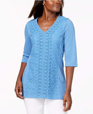 JM Collection Petite Crochet-Lace Top