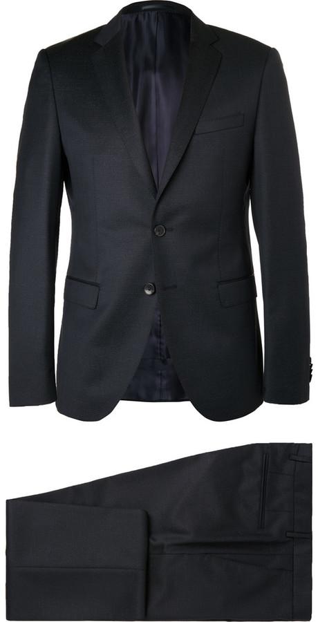 Hugo BossHugo Boss Blue Rocco Wyatt Slim-Fit Pinstriped Virgin Wool Suit