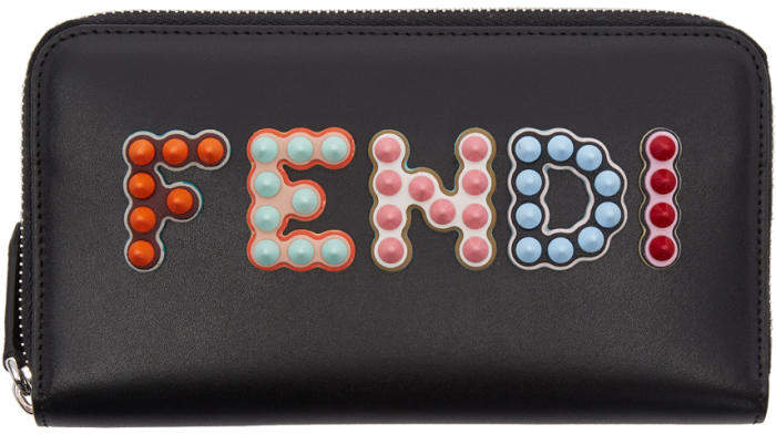Fendi Black Long 2 Jours Logo Zip Around Wallet