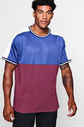 boohoo Colour Block Mesh T-Shirt