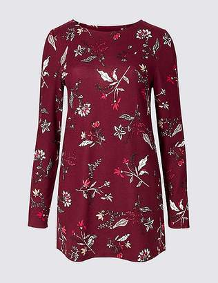 Marks and Spencer Floral Print Longline Long Sleeve Tunic