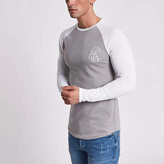 River Island Mens Grey raglan embroidered muscle T-shirt