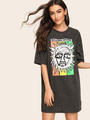 Shein Cartoon & Letter Print Tee Dress