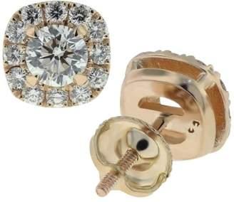 18k Rose Gold Diamond Halo Stud Earrings
