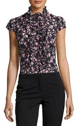 Nanette Lepore Cap-Sleeve Floral Silk Ruffle-Trim Blouse, Black/Multicolor $278 thestylecure.com
