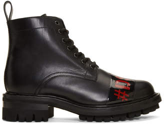 DSQUARED2 Black Punk Tape Lace-Up Boots