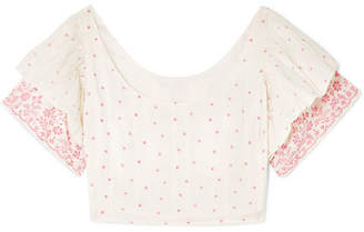 LoveShackFancy Christine Off-the-shoulder Ruffled Printed Cotton-voile Top - White