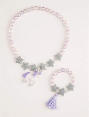 George Purple Unicorn Beaded Tassel Jewellery Set