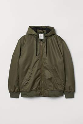 H&M Padded Hooded Bomber Jacket - Green