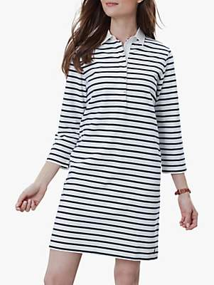 Joules Winona Striped Cotton Rugby Shirt Dress, Cream/Navy